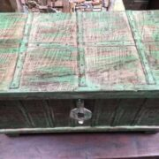 kh14 rs18 067 b indian furniture green metalwork trunk top