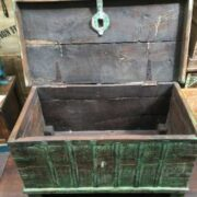 kh14 rs18 067 b indian furniture green metalwork trunk open