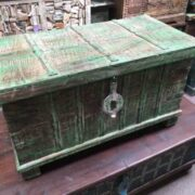kh14 rs18 067 b indian furniture green metalwork trunk left