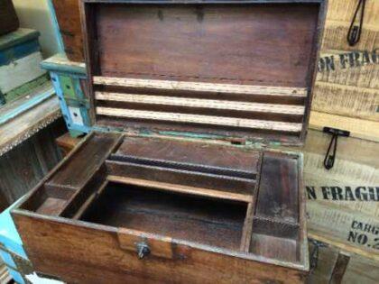kh18 001 C indian furniture trunk vintage teak open