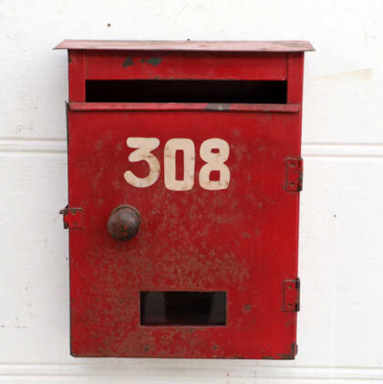 kh18 021 indian original red letterboxes metal front