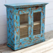 kh19 RS2020 006 indian furniture cabinet blue glass shabby left
