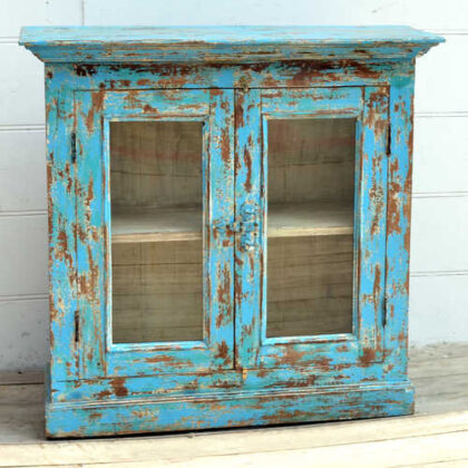 kh19 RS2020 006 indian furniture cabinet blue glass shabby front