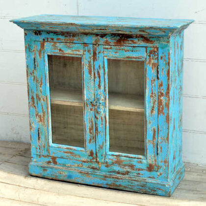 kh19 RS2020 006 indian furniture cabinet blue glass shabby right