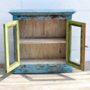 kh19 RS2020 006 indian furniture cabinet blue glass shabby open