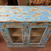 kh19 RS2020 006 indian furniture cabinet blue glass shabby top