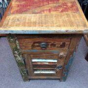 kh19 RS2020 055 indian furniture bedside reclaimed slatted top