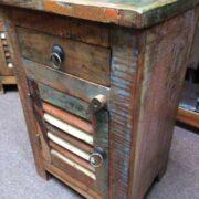 kh19 RS2020 055 indian furniture bedside reclaimed slatted angle
