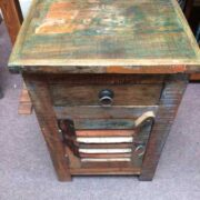 kh19 RS2020 055 indian furniture bedside reclaimed slatted above