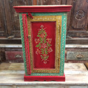 K72 9284 indian furniture bedside cabinet hand painted red colourful front