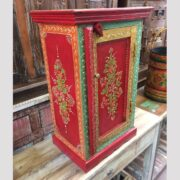 K72 9284 indian furniture bedside unit hand painted red colourful main