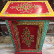 K72 9284 indian furniture bedside cabinet hand painted red colourful top