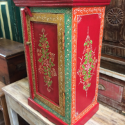K72 9284 indian furniture bedside cabinet hand painted red colourful side
