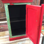 K72 9284 indian furniture bedside cabinet hand painted red colourful open