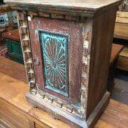k69 2529 2 indian furniture carved bedside cabinet sunburst blue right