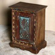 k69 2529 2 indian furniture carved bedside cabinet sunburst blue showroom