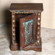 k69 2529 2 indian furniture carved bedside cabinet sunburst blue ajar