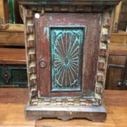 k69 2529 2 indian furniture carved bedside cabinet sunburst blue closer