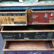 k44 2246 indian furniture chest of unusual reclaimed drawers open