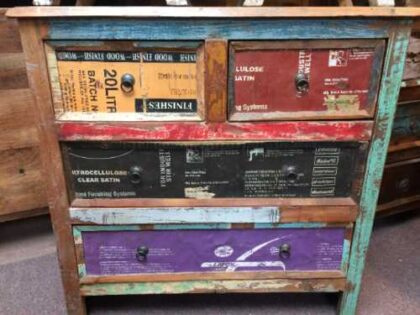 k44 2246 indian furniture chest of unusual reclaimed drawers front