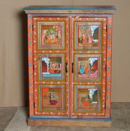 k74 06 indian furniture red hand painted cabinet figures front
