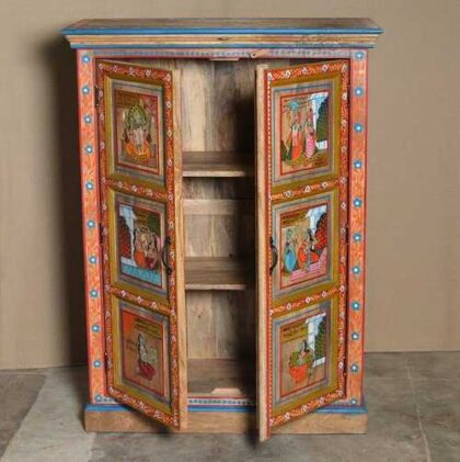 k74 06 indian furniture red hand painted cabinet figures open