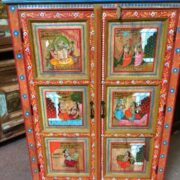 k74 06 indian furniture red hand painted cabinet figures close front