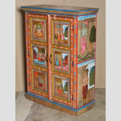 k74 06 indian furniture red hand painted cabinet figures main