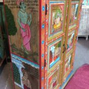 k74 06 indian furniture red hand painted cabinet figures side