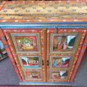 k74 06 indian furniture red hand painted cabinet figures top