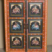 k74 10 indian furniture black hand painted cabinet front close
