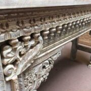 k74 20 indian furniture nodule carved console table white close