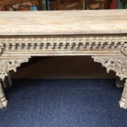 k74 20 indian furniture nodule carved console table white front