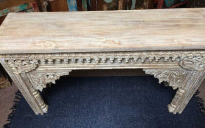 k74 20 indian furniture nodule carved console table white top