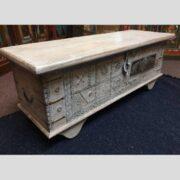 k74 69 indian furniture trunk white elephant embossed main