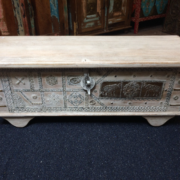 k74 69 indian furniture trunk white elephant embossed main front