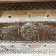 k74 69 indian furniture trunk white elephant embossed main metal