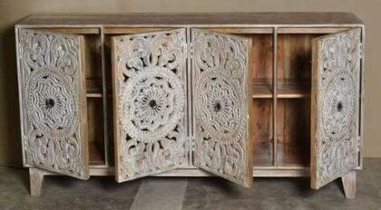 k74 72 indian furniture carved white sideboard large intricate open