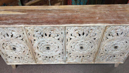 k74 72 indian furniture carved white sideboard large intricate top