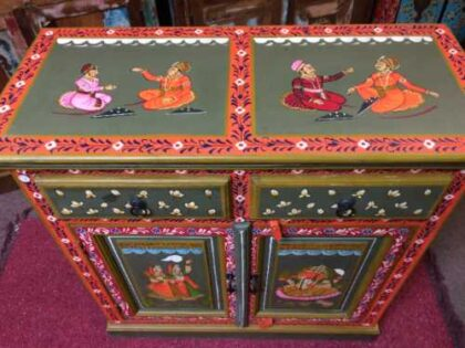 k74 8 indian furniture sideboard hand painted green small top