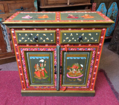 k74 8 indian furniture sideboard hand painted green small main