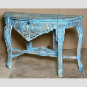 k74 88 indian furniture elegant carved console table blue drawer main