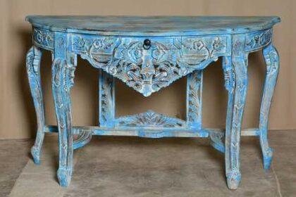 k74 88 indian furniture elegant carved console table blue drawer front