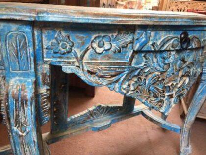 k74 88 indian furniture elegant carved console table blue drawer close