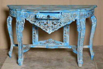 k74 88 indian furniture elegant carved console table blue drawer open