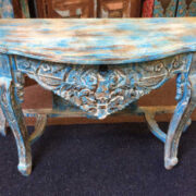 k74 88 indian furniture elegant carved console table blue drawer top