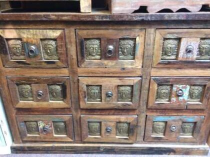kh20 172 indian furniture chest 9 drawers reclaimed buddha front close