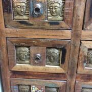 kh20 172 indian furniture chest 9 drawers reclaimed buddha close