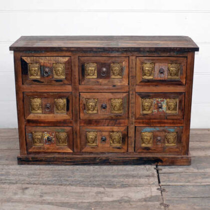 kh20 172 indian furniture chest 9 drawers reclaimed buddha front