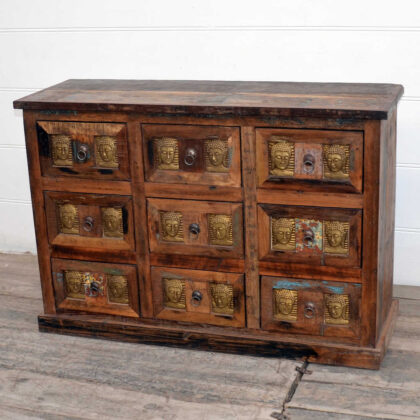 kh20 172 indian furniture chest 9 drawers reclaimed buddha main